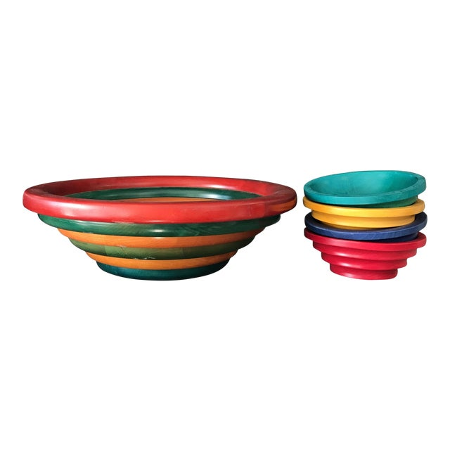 Manzom Vietri Wood Salad Bowls - Set of 4 For Sale