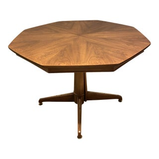 Vintage Mid Century Modern Jb Van Sciver Co Walnut Octagonal Dining Table For Sale
