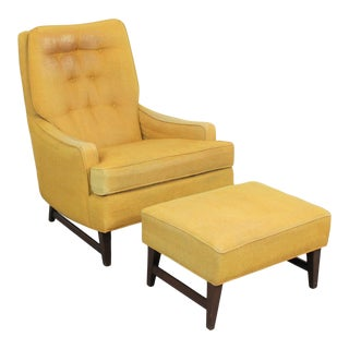 Mid-Century Modern Walnut Selig Style Lounge Chair and Ottoman For Sale