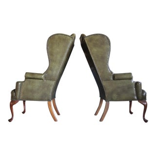 Olive Green Leather Wingback Chairs, a Pair