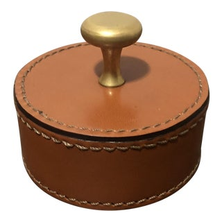 Vintage Ralph Lauren Designer Leather Wrapped Paperweight W Brass Knob For Sale