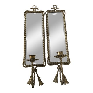 Rope Brass Mirrored Candle Sconces - A Pair