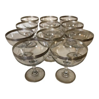 1930's Silver Resist Rim Coupes - Set of 11 For Sale