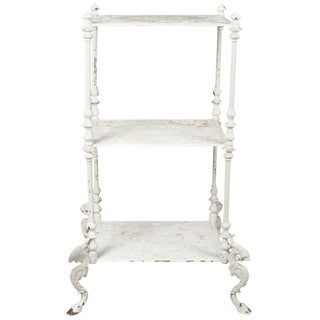 Antique Bradley & Hubbard Painted Cast Iron Three-Tier Foliate Plant Stand For Sale
