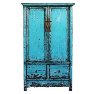 Vintage Blue Lacquer Armoire
