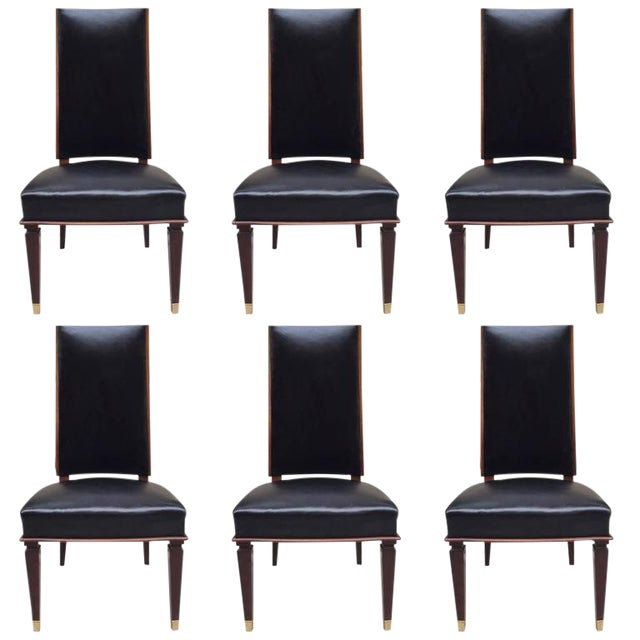 Six Leather Dining Chairs For Sale