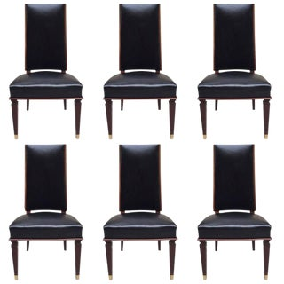 Six Leather Dining Chairs Style of Andre Arbus For Sale