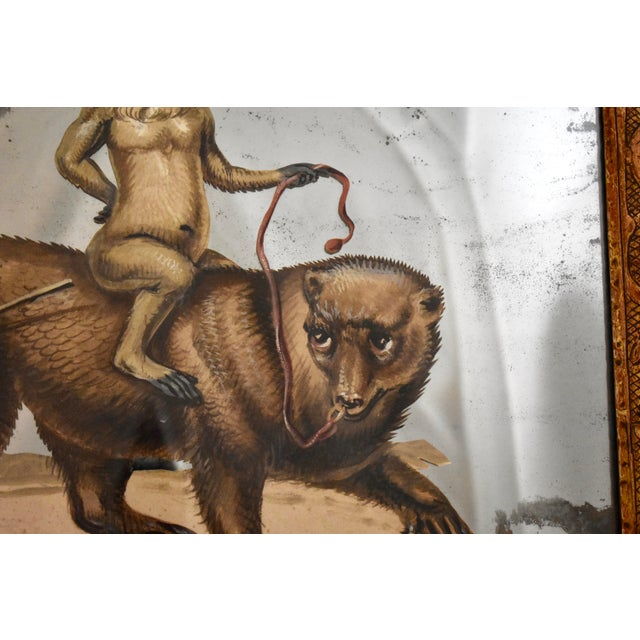 Metal 19th C. French Exotic Hand-Painted Decoupage Mirror, Animal Trainer, Monkey & Bear For Sale - Image 7 of 13