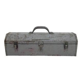 Vintage Gray Metal Toolbox For Sale