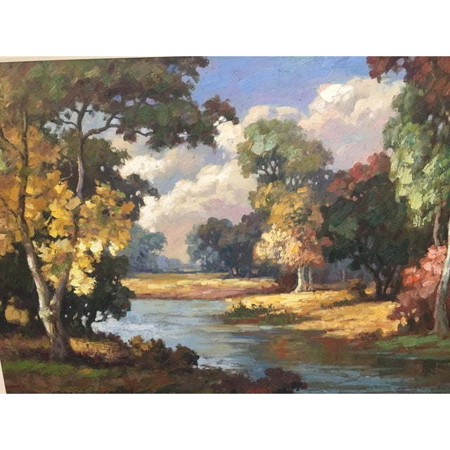 Beautiful landscape oil on canvas from prominent Detroit decorators home. Ideal for over fireplace mantle or large space....