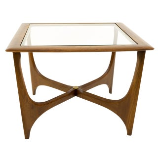Mid Century Modern Adrian Pearsall for Lane Walnut & Glass Sculptural Square Side Table For Sale