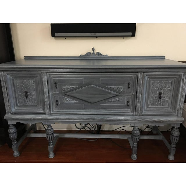 Wood Vintage Hand-Painted Distressed Sideboard For Sale - Image 7 of 9