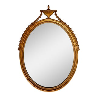 French Carved Giltwood Oval Mirror For Sale