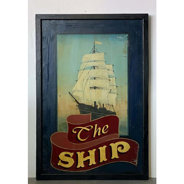An authentic English pub sign (two-sided) featuring a painting of a sailing ship with billowing sails, entitled: The Ship....
