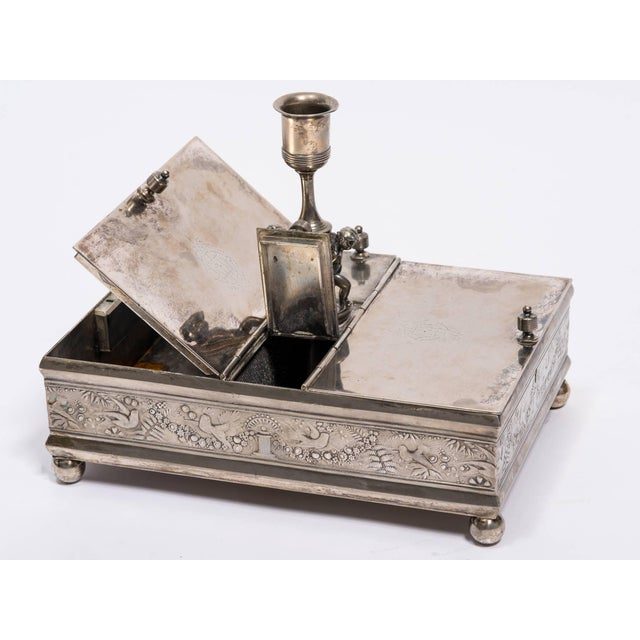Metal 19th Century Silver Plate Letter Box For Sale - Image 7 of 10