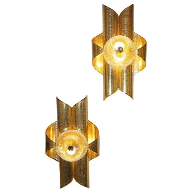 Vintage Late 1970s Modern Folded Brass and Clear Glass Sconces - a Pair For Sale