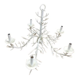 Coastal Style White Textured 5 Light Coral Chandelier For Sale