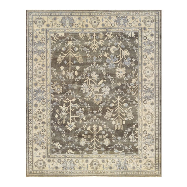 """Mansour Genuine Handwoven Oushak Rug - 8'2"""" X 9'9"""" For Sale"""