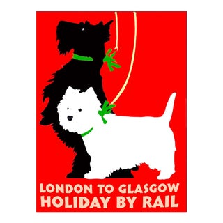 """Matted and Framed Vintage """"London to Glasgow"""" Travel Poster"""