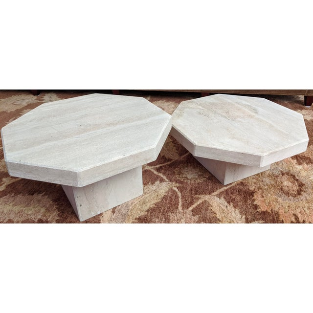 1970s Octagonal Travertine Low Tables - a Pair For Sale - Image 9 of 9