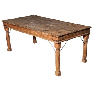 Indian Shesham Wood Palace Door Dining Table with Iron Details, 20th Century For Sale