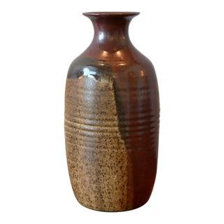 Striated Multicolored Studio Pottery Ceramic Vessel For Sale