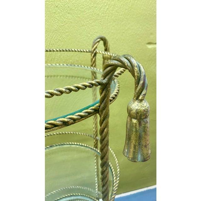 Hollywood Regency Vintage Hollywood Regency 3 Tiered Rope and Tassel Table For Sale - Image 3 of 5