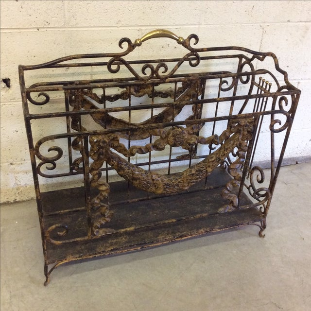 Ornate Lyre Iron Magazine Rack - Image 5 of 9