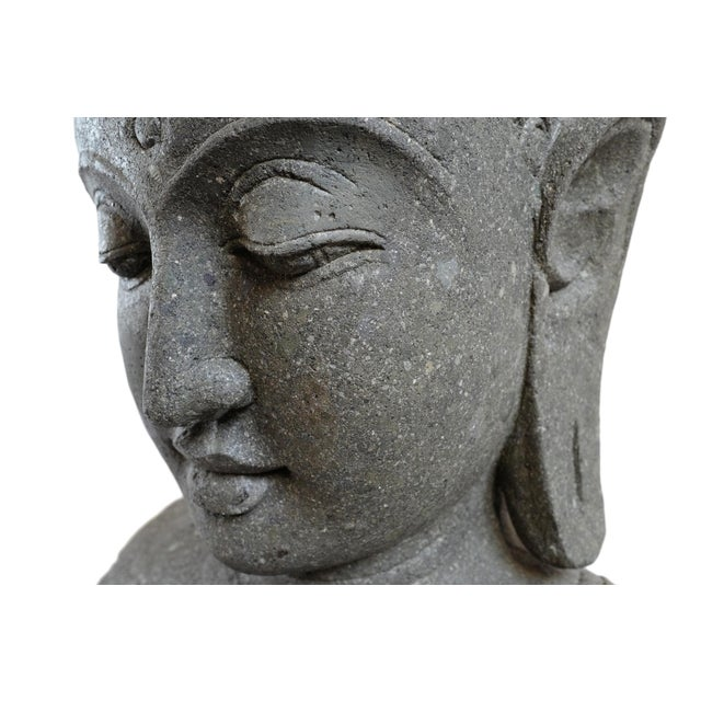 Stone Carved Buddha Bust For Sale In Los Angeles - Image 6 of 7