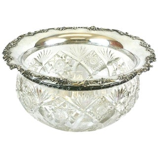 Large Victorian Crystal Punch Bowl With Sterling Lip For Sale