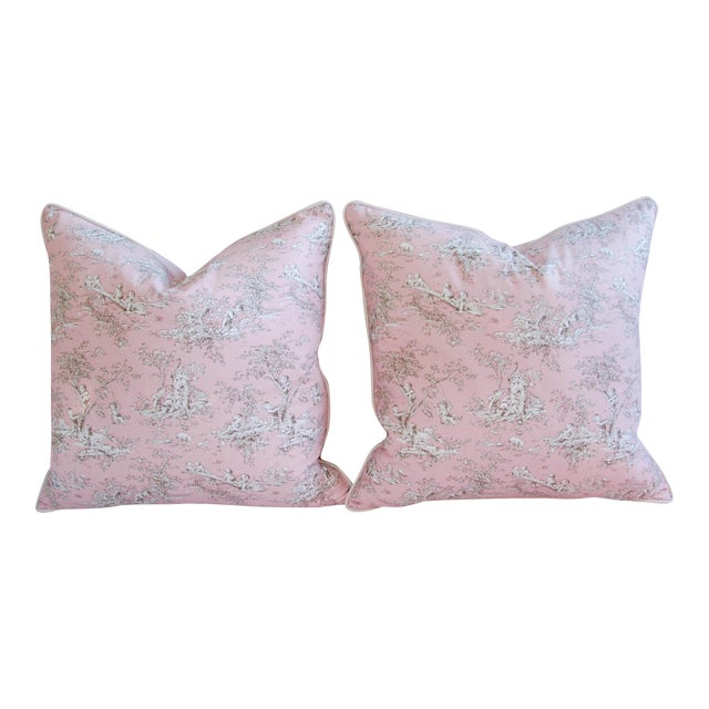 French Pink Toile & Velvet Pillows - A Pair - Image 1 of 11