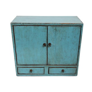 Turquoise Vintage Side Cabinet For Sale
