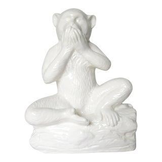 C1970s Vintage Italian Porcelain Majolica Monkey a Top a Stump Log For Sale