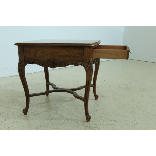 1980s Drexel Heritage Country French Style Walnut & Oak End Table For Sale - Image 5 of 10