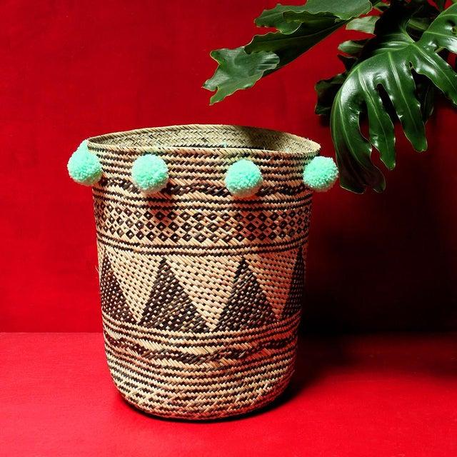 Borneo Drum Tribal Straw Basket with Mint Pom-poms - Image 2 of 5