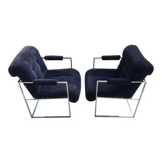 1970s Milo Baughman for Thayer Coggin Navy Blue Arm Chairs - a Pair For Sale
