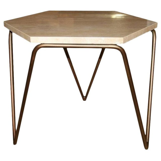 Mid-Century Modern Customizable Tom Tripod Hexagon Table For Sale - Image 3 of 6