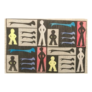 Mid-Century Modern Phyllis Myrick Color Woodcut, 1958 For Sale