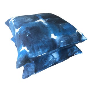 Rubelli Blue Water Color Linen Throw Pillows - A Pair For Sale