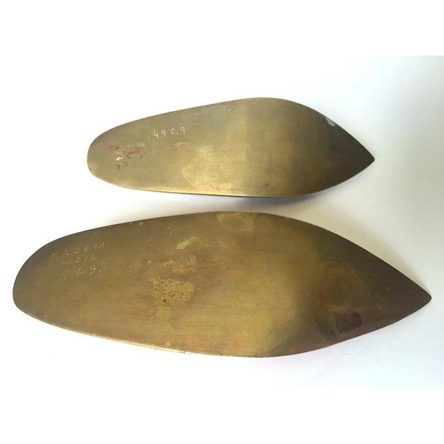 Vintage Mid Century India Cast Brass Incised Enamel Shoes Incense Burner Ashtrays - Set of 2 For Sale - Image 12 of 13