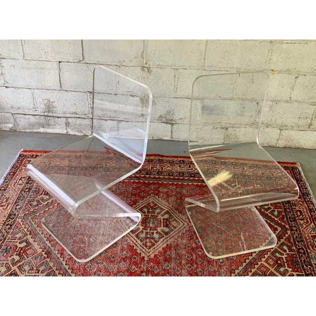 1970s Mid Century Modern Lucite Chairs, a Pair For Sale - Image 5 of 11