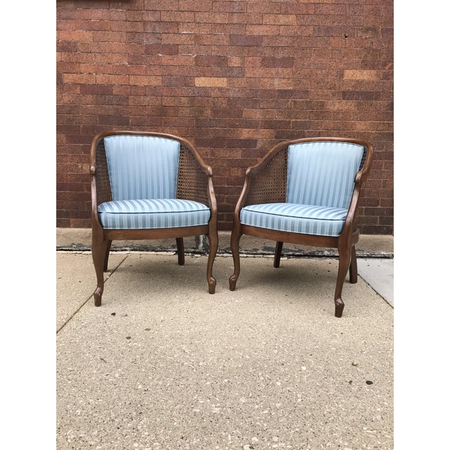 Traditional Vintage Cane Barrel Chairs - A Pair For Sale - Image 3 of 5