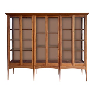 Vintage Display Case With Glass Front and Shelves For Sale