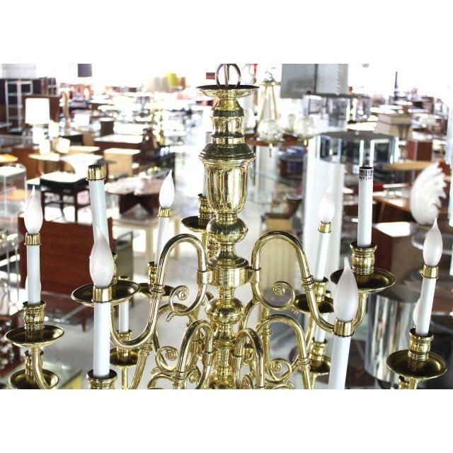 Gold Vintage Brass Candelabra Chandelier For Sale - Image 8 of 10