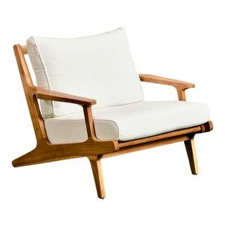 Outdoor Teak Sleek Lounge Chair For Sale