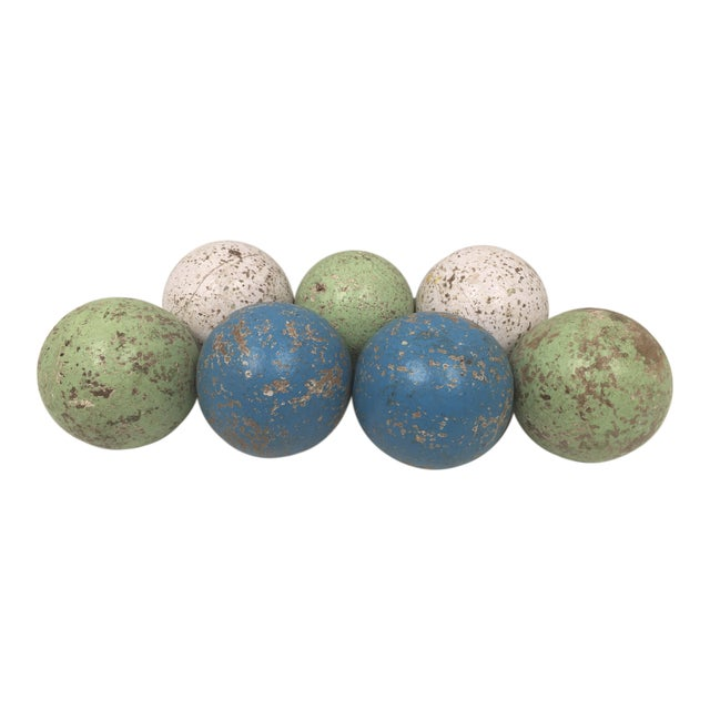 1950s Italian Painted Wooden Bocce Balls - Set of 7 For Sale