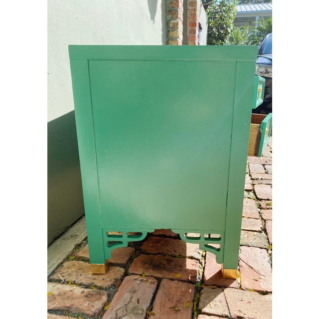 1960's Dixie Shagri La Green and Gold Leaf Hollywood Regency Nightstands- a Pair For Sale - Image 10 of 13