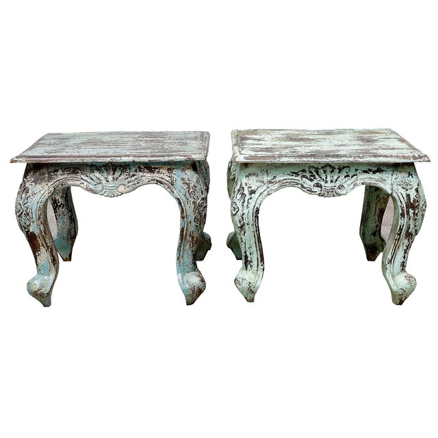 Distressed Painted Side Table - Image 1 of 2
