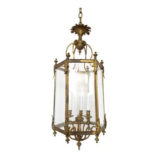Antique Louis XVI Style Gilded Hall Lantern For Sale