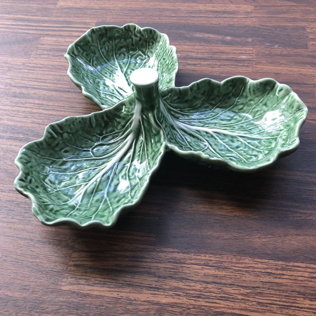 Majolica Bordallo Pinheiro Cabbage Leaf Olive Tray For Sale In Pittsburgh - Image 6 of 6